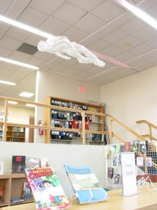 Tape sculptures appear throughout the school