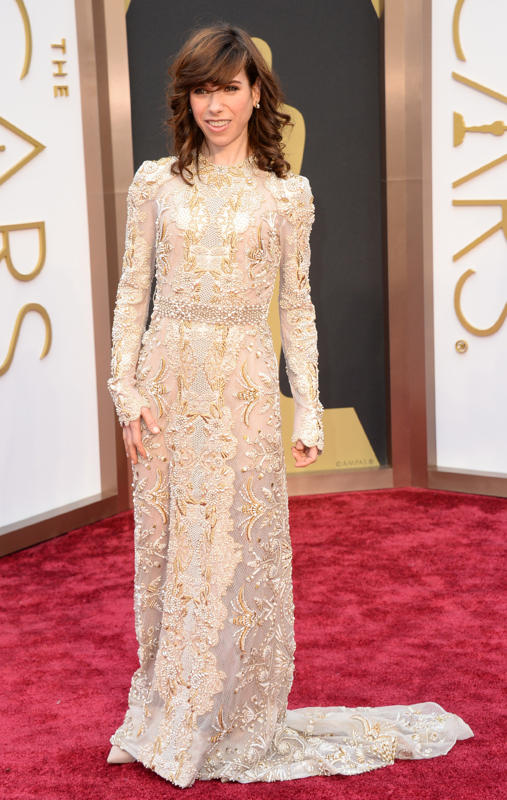 Sally Hawkins was swallowed by her bland Christmas tablecloth of a dress.