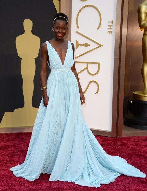 Lupita Nyong'o is officially queen of the red carpet! She looked beautiful in a pastel blue Prada dress that would make any princess jealous.