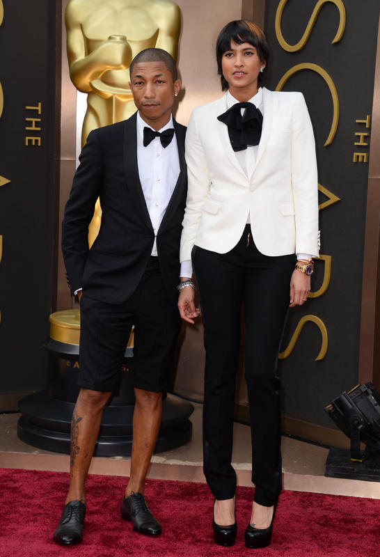 Pharrell Williams needs to take a hint from his wife. Please do not wear shorts with this outfit!