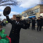 This member of the Massachusetts Maritime Academy's marching band got the crowd cheering wildly with his cymbal-clashing antics