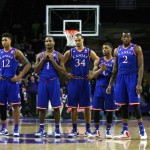 Feb 23, 2015; Manhattan, KS, USA; Kansas Jayhawks guard Kelly Oubre (12), guard Wayne Selden, Jr. (1), forward Perry Ellis (34), guard Frank Mason (0) and forward Cliff Alexander (2) look on during a 70-63 loss to the Kansas State Wildcats at Fred Bramlage Coliseum. Mandatory Credit: Scott Sewell-USA TODAY Sports