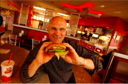 Andrew Puzder in one of is Carl's Jr stores.