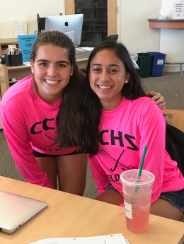 """""""I go to sleep at the same time so I guess I get more sleep"""" - Cat d'Ambrosio (Junior) (Right)  """"I think it gives me more time in the morning, but I feel like there's more traffic"""" - Renée Ledoux (Junior) (Left)"""