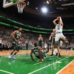 BOSTON, MA - OCTOBER 18:  Jayson Tatum #0 of the Boston Celtics shoots the ball against the Milwaukee Bucks on October 18, 2017 at the TD Garden in Boston, Massachusetts.  NOTE TO USER: User expressly acknowledges and agrees that, by downloading and or using this photograph, User is consenting to the terms and conditions of the Getty Images License Agreement. Mandatory Copyright Notice: Copyright 2017 NBAE  (Photo by Steve Babineau/NBAE via Getty Images)