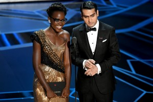 HOLLYWOOD, CA - MARCH 04: Actors Lupita Nyong'o (L) and Kumail Nanjiani speak onstage during the 90th Annual Academy Awards at the Dolby Theatre at Hollywood & Highland Center on March 4, 2018 in Hollywood, California. (Photo by Kevin Winter/Getty Images)